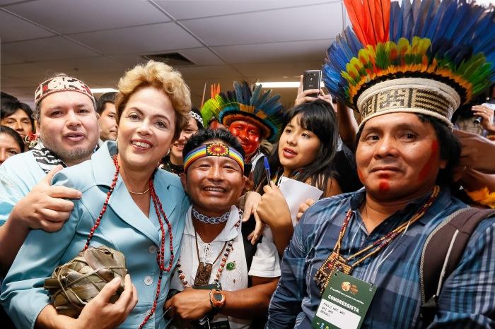 Brasília - DF, 23/06/2015. Presidenta Dilma Rousseff, durante solenidade de lançamento dos I Jogos Mundiais dos Povos Indígenas e abertura do Congresso Técnico. Foto: Roberto Stuckert Filho/PR