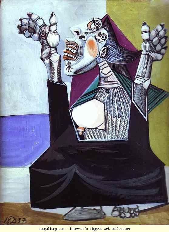 Pablo Picasso. La Suppliante. 1937. Oil on canvas. Gouache and China ink on wood. Musée Picasso, Paris, France.
